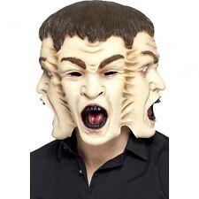 3 Headed Human Mask Human Hydra 3 Heads 1 Neck Latex Face Halloween Adult NEW