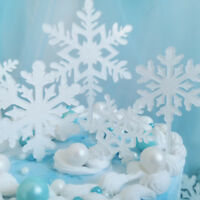 4Pcs Acrylic Snowflakes Christmas Cupcake Cake Toppers Decorations Frozen