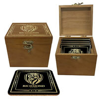 AFL Set Of 4 Cork Coasters In Wooden Gift Box - Richmond Tigers - Coaster