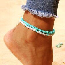 Beach Women Multilayer Blue White Foot Chain Bracelet Resin Beads Anklets