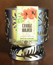 BATH & BODY WORKS TROPICAL FLOWER PEDESTAL METAL MINI CANDLE HOLDER SLEEVE 1.3OZ
