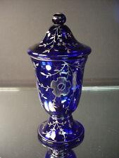 Czech Art Glass Wiener Werkstatte Cobalt Apothecary Jar w/Silver Deposit ArtDeco