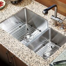 "30"" x 18"" Double Bowl Stainless Steel Hand Made Undermount Kitchen Sink COMBO"