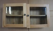 Solid Oak 75cm Wide Double Door Glass Wall Cabinet - Imperfect - Sold to Clear