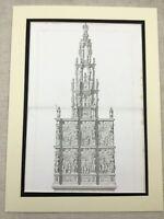 1857 Antique Architectural Print Belgian Church St. Etienne Rare Engraving Large