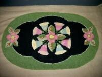 ANTIQUE TAPESTRY DOILY FRENCH KNOT PUNCH NEEDLE RUNNER CHIC SHABBY ART DECO ERA