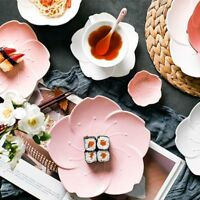 Ceramic Sakura Dinner Set Pink Kitchen Tableware Plates Flower Shape Sauce Dish