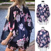 Popular Womens Floral Beach Chiffon Loose Shawl Kimono Cardigan Top Cover Blouse