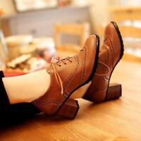 Retro Womens wing tip Brogue Lace Up Casual Oxfords Block Heel Shoes Plus Size
