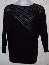NEW $58 L ALLISON DALEY BLACK SOFT PERFORATED MESH SWEATER BLOUSE PRO CLEANED
