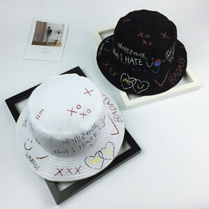 Harajuku Letters Graffiti Bucket Hat Men Women Fisherman Summer Sun Hat