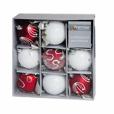 Christmas Decoration 9 Pack 60mm Shatterproof Baubles - Red and White