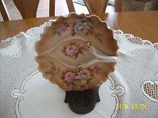 Made In Japan Vintage Handpainted Floral Design Handle Serving/Candy Dish