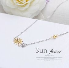 "Two Tone Women 16-18"" Sterling Silver Sunflower Pendant Necklace Gift Box I32"