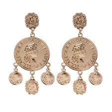 Golden Coin Pendant Big Hoop Banjara Kuchi Belly Dance Gypsy Dangle Earrings