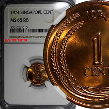 Singapore Bronze 1974 1 Cent GRADED NGC MS65 RB GEM BU KM# 1