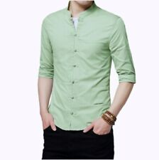Mens Chinese style Shirt Tops Blouses Stand collar Slim Fit Half Sleeve Summer D