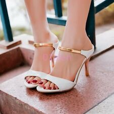 HOT Womens Lady Sexy High Heels Mule Slides PeepToe Strap Stiletto Shoes Plus SZ