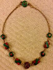 Dezigns By Zetroc Hugs & Kisses Coral& Turquoise inlaid Brass Hand Crafted112