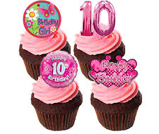 10th Birthday Girl Edible Cup Cake Toppers, Pink Stand-up Fairy Bun Decorations
