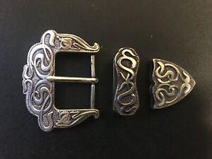"Rare ""Celtic snakes"" inspired western 3 piece set belt buckle.Silver plaiting."