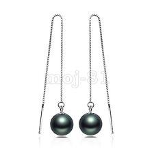 Shell Pearl Long Ear Chain/Link Earrings Womens 925 Sterling Silver 10mm Black