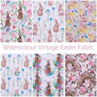100% Premium Quilting Cotton, Vintage Easter Watercolour Style Fabric 110cm Wide