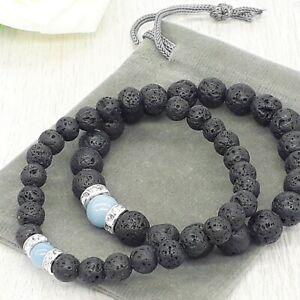 Natural Lava Stone & Angelite Gemstone Chakra Stretch Bracelet & Velvet Pouch