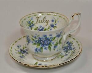 Royal Albert Porcelaine Angleterre Fleur De Mois #7 Forget Me Not Soucoupe Tasse