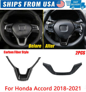 Carbon Fiber Style Plastic Steering Wheel Cover Trim For Honda Accord 2018-2020