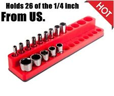 Magnetic Socket Organizer Deep Holder Rack Hole Tray Mechanic Time Saver Shallow