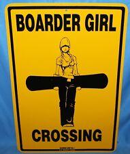 Boarder Girl Crossing Snowboarding Metal Traffic Street Road Sign