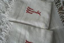 3 serviettes anciennes, N°102, franges ,monogramme MY?, toilette, nid d'abeilles