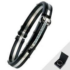 Stainless Steel HandCuff Bangle Bracelet Black With Free Gift Box Jewelry