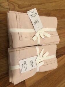 Williams Sonoma Linen Double Hemstitch Napkins 8 Blush Pink