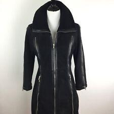 Dolce & Gabbana Size 38 Women's Reversed Sheepskin Leather Long Coat In Black