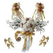 Romantic Wedding Car Decorations Kit DIY Artificial Silk Flower Ribbon Bows Set