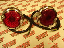 1933-1936 Ford car 1946-1954 Ford pickup stainless tail light pair - Glass lens