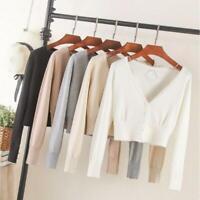 Womens Knit Cardigan Sweater Crop Shrug Top Long Sleeve Button Down Retro Slim