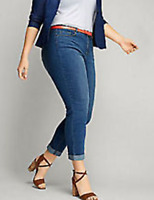 New Lane Bryant $65 Super Stretch Denim Crop Medium Wash Capri Jeans Plus Size