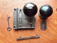 Antique Door Rim or Box Lock & Black Doorknobs Door Knobs Set c1890 Sargent USA