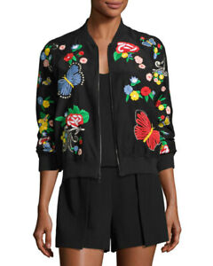 Alice + Olivia Felisa Floral Butterfly Embroidered Silk Bomber Jacket Size S