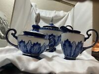 Vintage Bombay Company Blue and White Coffee and Tea Set perfect condition Rare