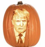"Halloween Orange Plastic Donald Trump Pumpkin ""Trumpkin"" AA Battery Operated NEW"
