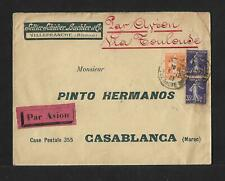 FRANCE TO MOROCCO AIR MAIL COVER 1923