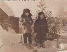 1950s Cute little boys in hats winter on skis friends old Russian Soviet photo