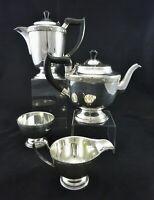 VINTAGE ORNATE EMBOSSED TRIM 4 PIECE TEA SET COFFEE SUGAR CREAM SHEFFIELD PLATE