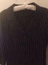 Hobbs London Negro Con Rayas Blancas 100% Lino Vestido Talla 8