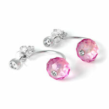 Sterling Silver Ear Jacket Stud Earrings with Clear & Pink CZ Crystals