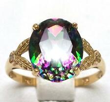 SYJEWELLERY FINE 9CT YELLOW GOLD NATURAL MYSTIC TOPAZ & DIAMOND RING SIZE N R929